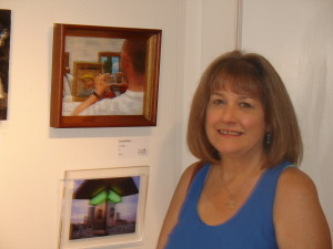 """Kristy Bishop with oil painting """"Angle of Incidence"""" in the juried show at WAAM (c) 2015"""