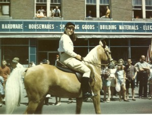 """Kristy on """"King"""" riding in the Houlton Maine Parade."""