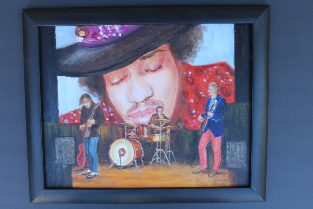 """Chris Bergson Band - Oil on Wood 11"""" x 14"""" by Kristy Bishop (c) 2018"""