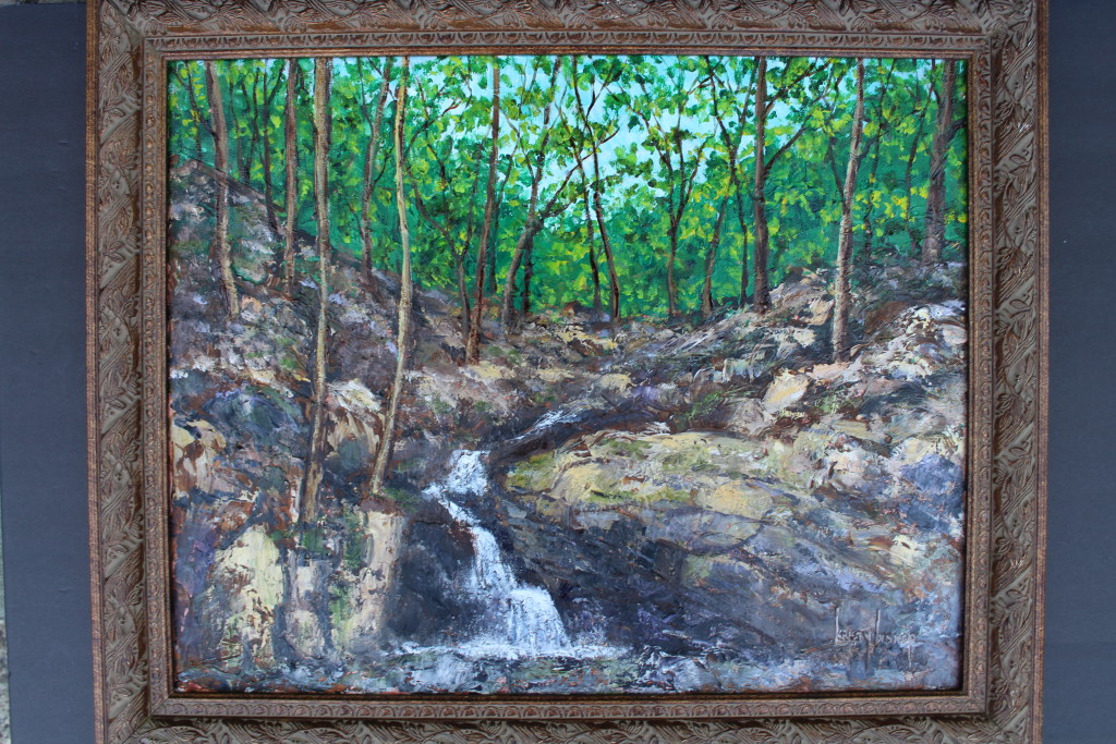 """Demonstration Oil Painting  """"Falling Waters"""" by Kristy Bishop 16"""" x 20"""" (c) 2018"""