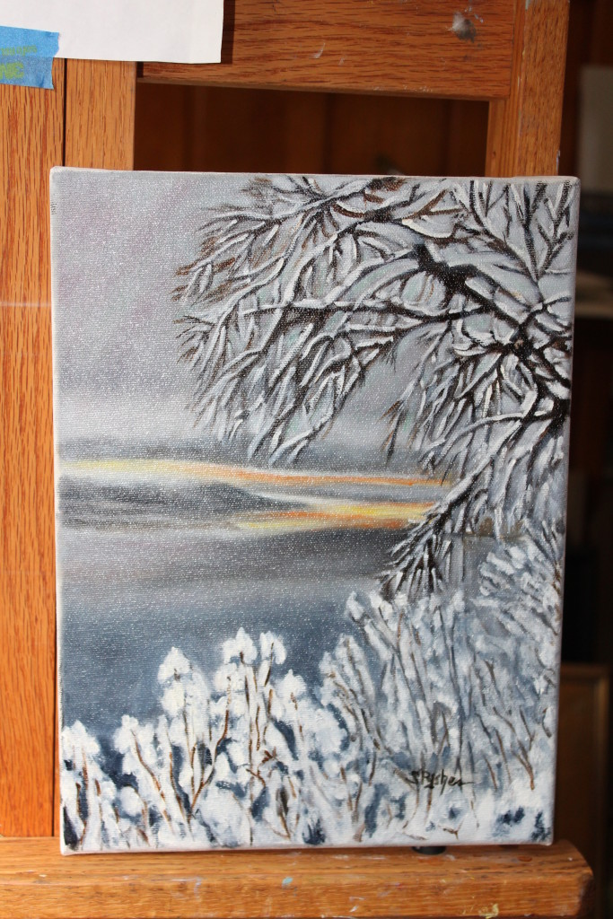 """""""Wintery Day on the Hudson"""" Oil by Sandra Pysher"""